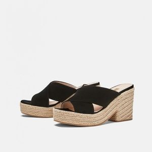 Zara crossover leather wedge heeled sandals